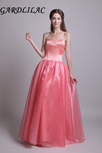 Gardlilac Sweetheart Sleeveless Long Evening Dress Taffeta Strapless Prom party Dress with Beading Lace up Coral Evening Dress