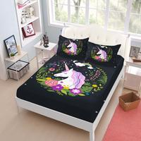Princess Unicorn Sheet Set Girls Cartoon Floral Print Fitted Sheet Bed Linens Bedsheet King Queen Deep Pocket Mattress Cover D45