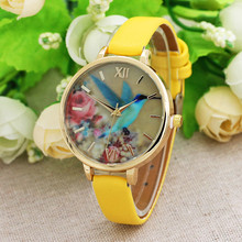 Fashion Blue Hummingbird Women Leather Band Analog Quartz Movement Wrist Watches