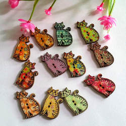50pcs Wooden Sewing Buttons Cartoon Cat buttons 2 Holes Randomly Mixed 18x30mm Scrapbooking Clothing Accessorie