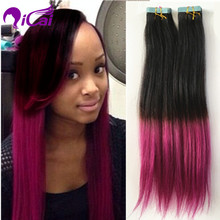 Ombre 2 Tone 1B/ Pink Rose Red Tape Hair Brazilian Virgin Remy Human Hair Straight Skin Weft Purple Pink Tape Hair Extension