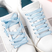 1 Pair Letter Printed ShoeLace Satin Silk Ribbon Shoelaces White Casual Shoes Lace Canvas Sneakers