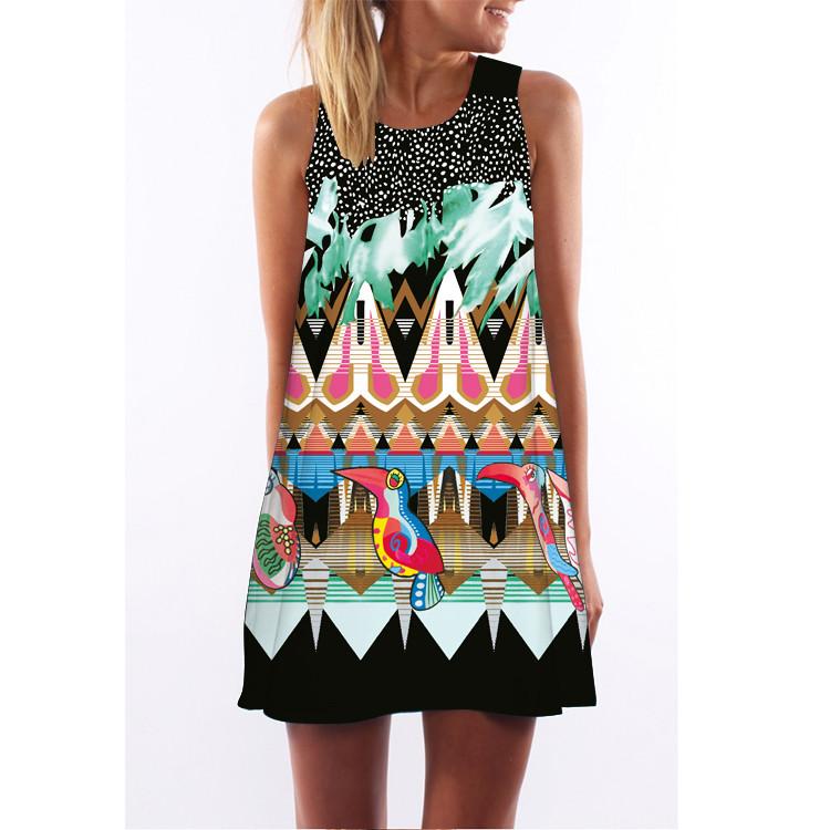 Women Dress 18 New Style Summer Dress Casual Beach Dress Floral Print Tunic Sleeveless Short Chiffon Dress Vestido de renda 11