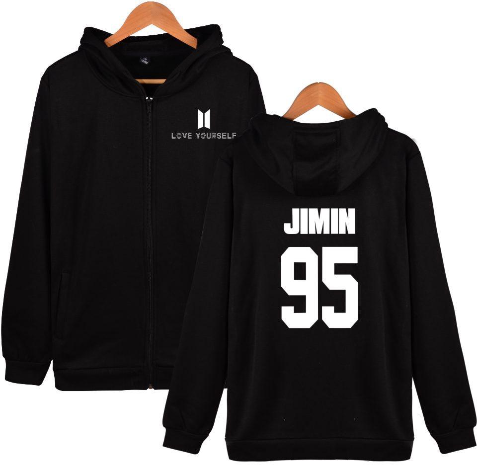 BTS Love Yourself Hoodies Zipper Men Bangtan Kpop Sweatshirt Men Hoodies Casual BTS Hip Hop Clothes