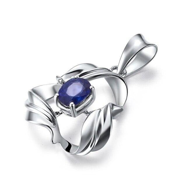 0.4ct сапфир 18 К золотой кулон+ 925 стерлингового серебра цепи Цепочки и ожерелья подарок для любителя Ювелирные украшения подарок на день Святого Валентина