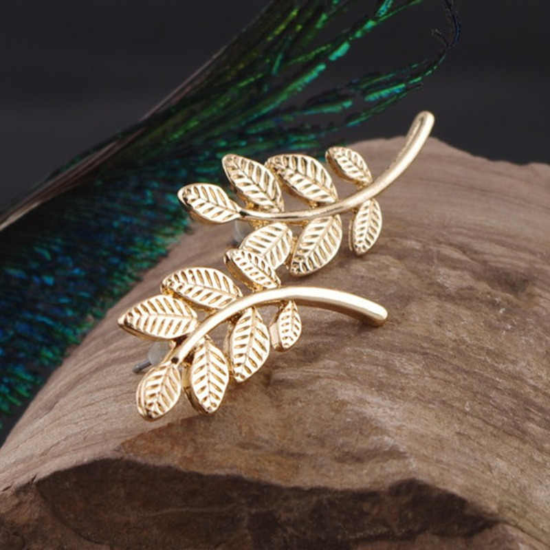 2018 New Arrivals Hot Fashion Zinc Alloy Silver Plated & Gold Color Brincos Oorbellen Metal Leaves Stud Earrings Women Jewelry