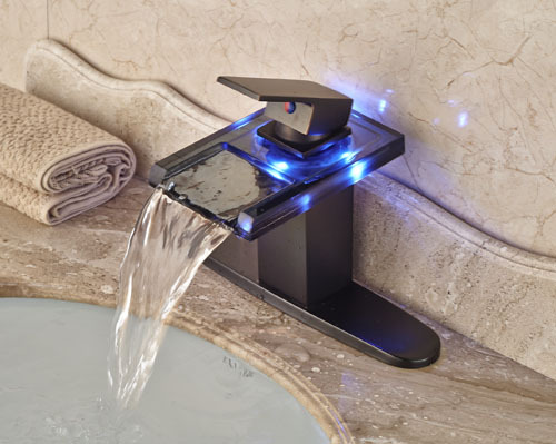 ФОТО LED Waterfall Glass Bathroom  Single Faucet Basin Faucet Single Handle  Mixer Tap  Oil Rubbed Bronze With Hole Cover Plate
