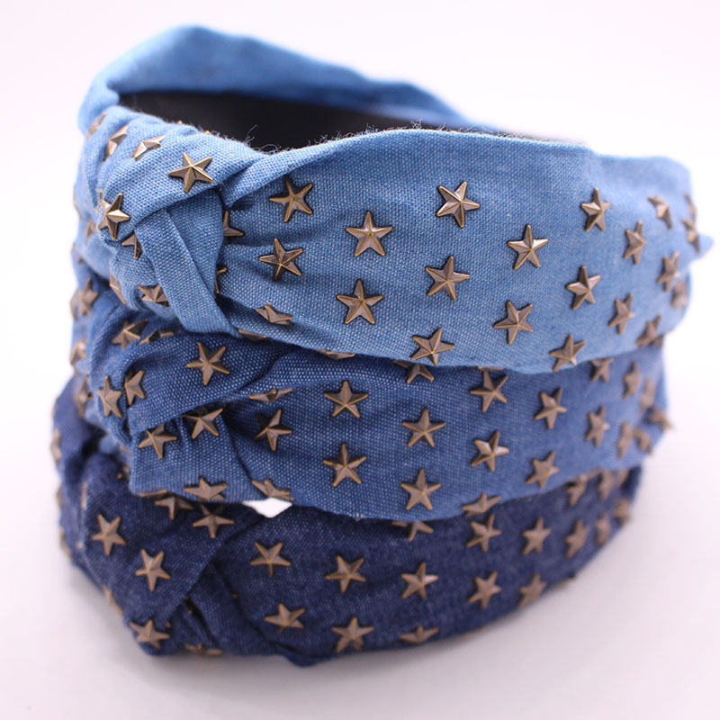 Bohemian Ethnic Denim Center Knot  Hairband Metal Star Stamping Knotted Headband Hair Accessories