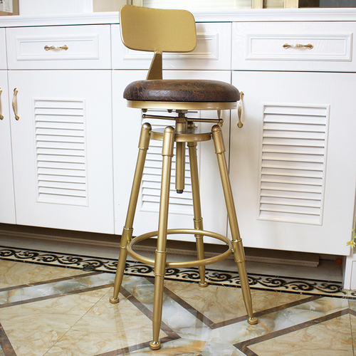 Нордический Золотой барный стул, железный вращающийся подъемный барный стул с задней металлической высокой ножкой, регулируемый по высоте - Цвет: D