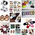58 cores novos designs Bebê Mocassins sapatos Genuíno Couro de Vaca arco Macio Moccs meninas bebe Sapatos de Bebê Recém-nascido firstwalker Anti-deslizamento