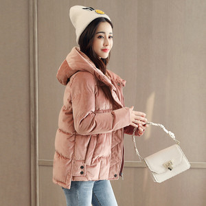 Image 5 - Velvet Short Hooded Cotton Padded Thick Casual High Quality Winter Coat Parka Loose Wadded Winter Jacket Women Manteau TT3618