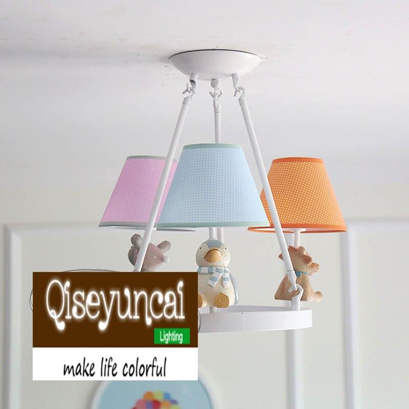 Qiseyuncai américain petit frais simple enfants demi suspension lustre chambre d'enfants garçon fille chambre éclairage livraison gratuite