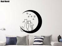 Mad Welt-Katzen Liebe Mond Sterne Cartoon Pet Tier Wandkunst Aufkleber Wandtattoo Home Dekoration Entfernbares aufkleber