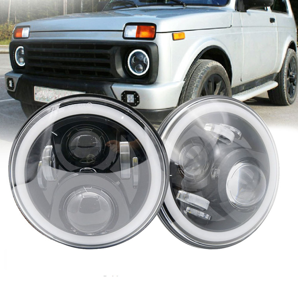 7Inch LED Headlamps with Halo Ring Amber Turn Signal For lada niva 4x4  suzuki samurai 7