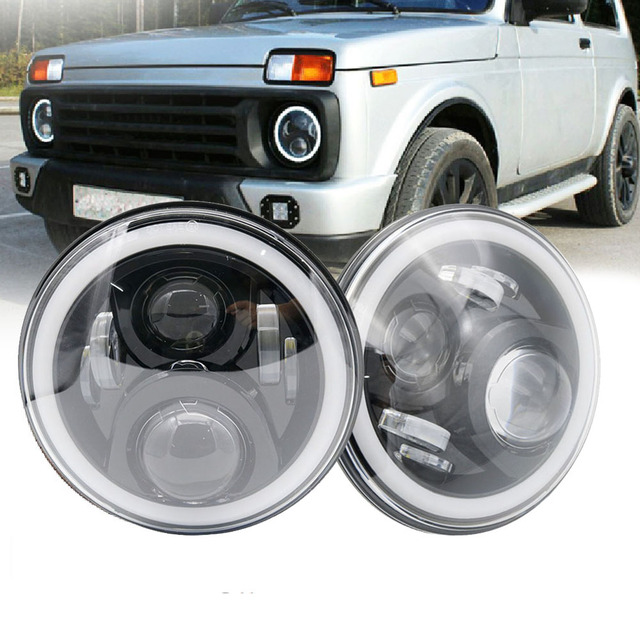 "7Inch LED Headlamps with Halo Ring Amber Turn Signal For lada niva 4x4 suzuki samurai 7"" LED DRL Halo Headlights For VAZ 2101"