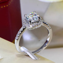 Cushion 2 Carat Imitation Diamonds Engagement Ring Princess Cut Halo Wedding Rings For Women AAA Grade Cubic Zirconia(China)