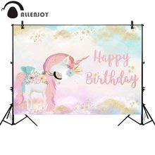 Allenjoy unicorn party photography backdrop Customized baby shower gold star princess birthday background photocall photobooth