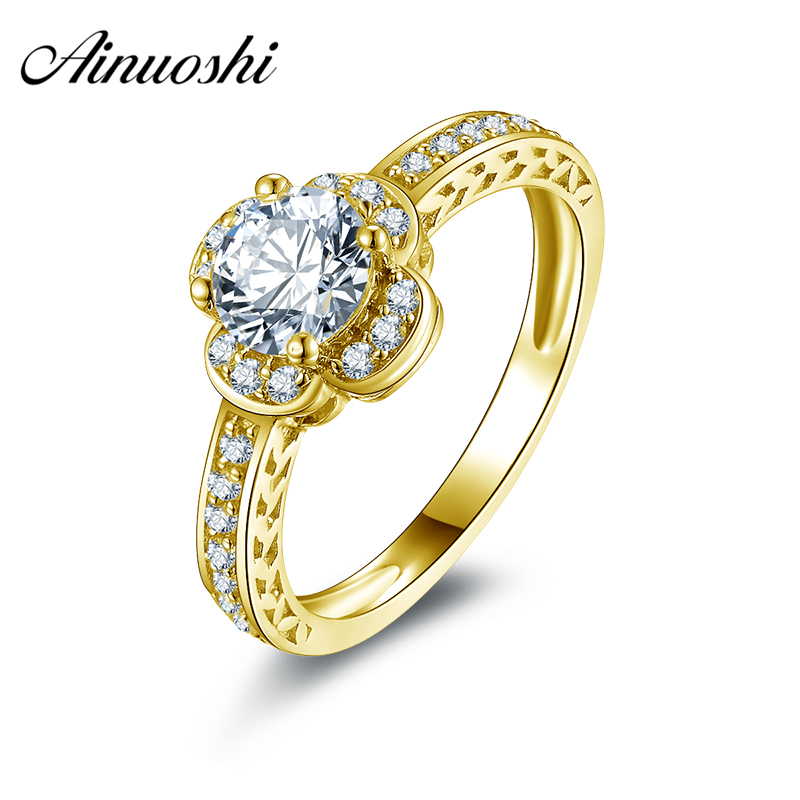 AINUOSHI 10k Solid Yellow Gold Wedding Rings Four Leaf Clover Shape 0.8 Carat Round Cut Women Wedding Bridal Band Ring Jewelry pair of chic rhinestoned four leaf clover shape earrings for women