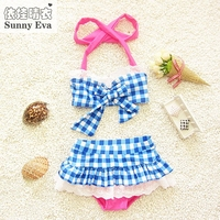 Sunny eva girls bikinis checks swimsuit 2017 kids two pieces children bikini swimwear infantiles swimming girls bathing suits