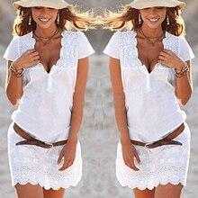Летние Для женщин белый Кружево Sexy V Средства ухода за кожей шеи платья с короткими рукавами белый платье-мини для вечеринок пикантные Одежда для вечеринок Vestidos