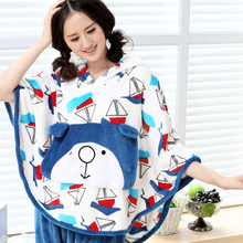 57b934923a Spring and autumn women s flannel sleep set sleeveless with a hood cloak  personalized cartoon fleece lounge