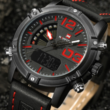 2017 NAVIFORCE Brand Men's Led Digital Quartz Watch Men Army Military Sports Watches Man Leather relogio masculino montre homme