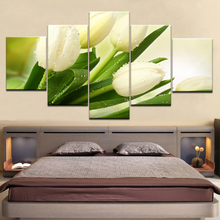 Canvas Paintings Modular Home Decor Framework HD Prints Pictures 5 Pieces White Tulips Flowers Posters For Living Room Wall Art modular canvas hd prints paintings home decor 5 pieces fishing rod pictures lake fishing posters living room wall art framework