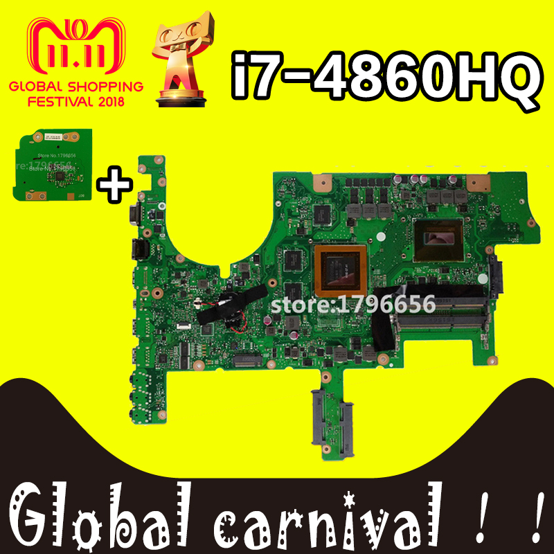 G751 carte mère Pour ASUS G751J G751JY G751JT G751JM ordinateur portable carte mère avec I7-4860HQ CPU GTX980M 4 gb carte mère Test OK