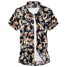 Social Shirt Mens clothing Slim Fashion Hawaiian for Men Causal dress Short sleeve Floral Blouse Summer