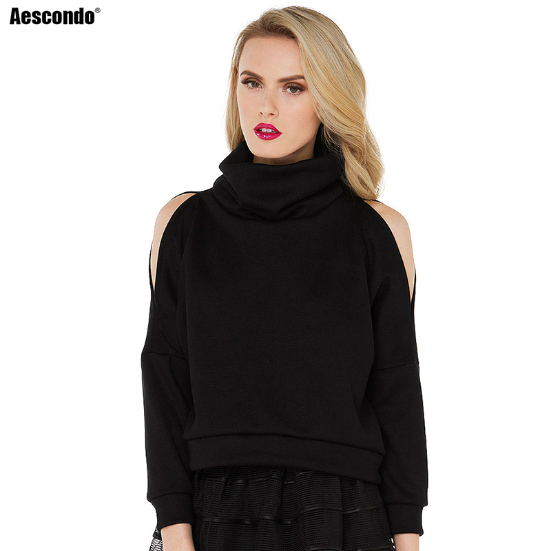 Aescondo 2017 Spring Woman Heaps Collar Off Shoulder Short Sweatshirt Female Funnel Neck ...