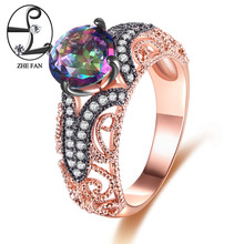 ZHE FAN Rainbow Synthetic Quartz Crystal Vintage Ring Rose Gold Black Color 2 Tone Plating For Women New Year Gift Size 6 7 8 9