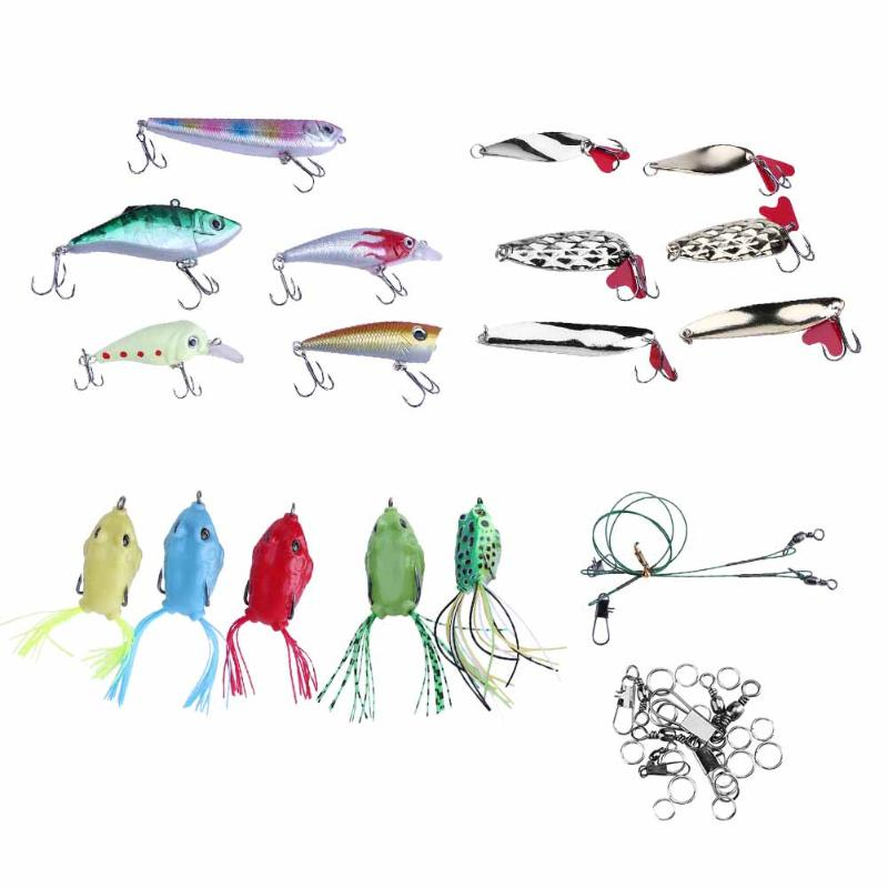34pcs Artificial Fishing Lure Tackle Carp Plastic Metal Bait Soft Lure Hard Baits Fishing Kit With Fishing Box Pesca fishing lure kit metal lure soft bait plastic lure wobbler frog lure free shipping
