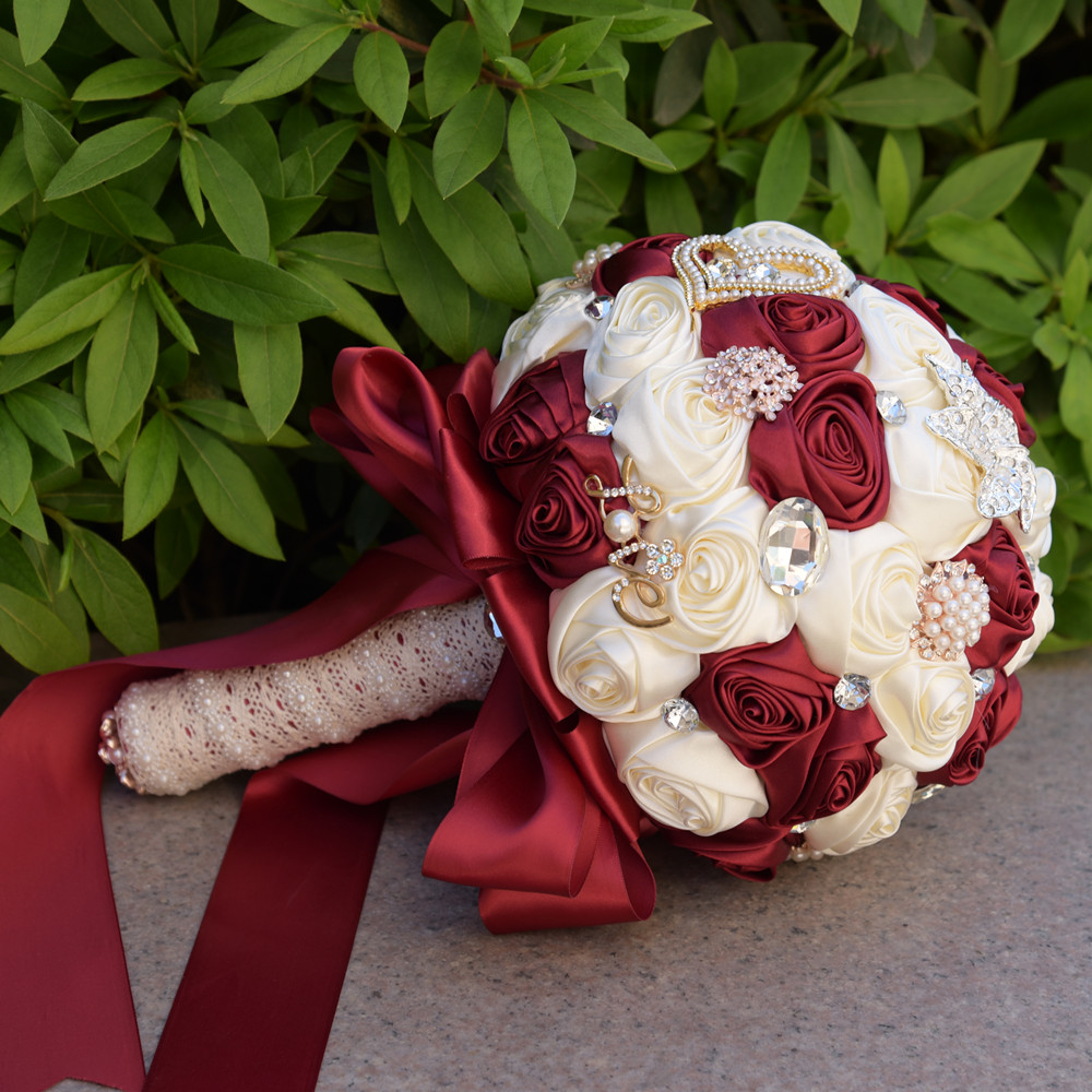 Luxury Crystal Beaded Burgundy Bridesmaid Flower Bouquet White Red