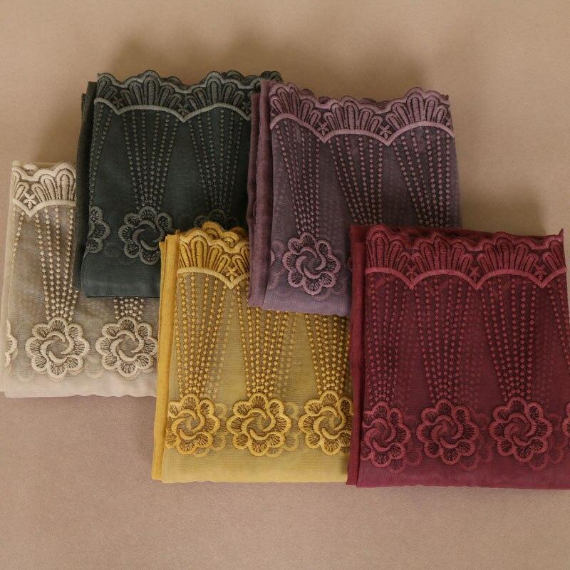 Laven women floral lace scarves plain bandhnu cotton muslim hijab wraps headband scarves scarf 11 color