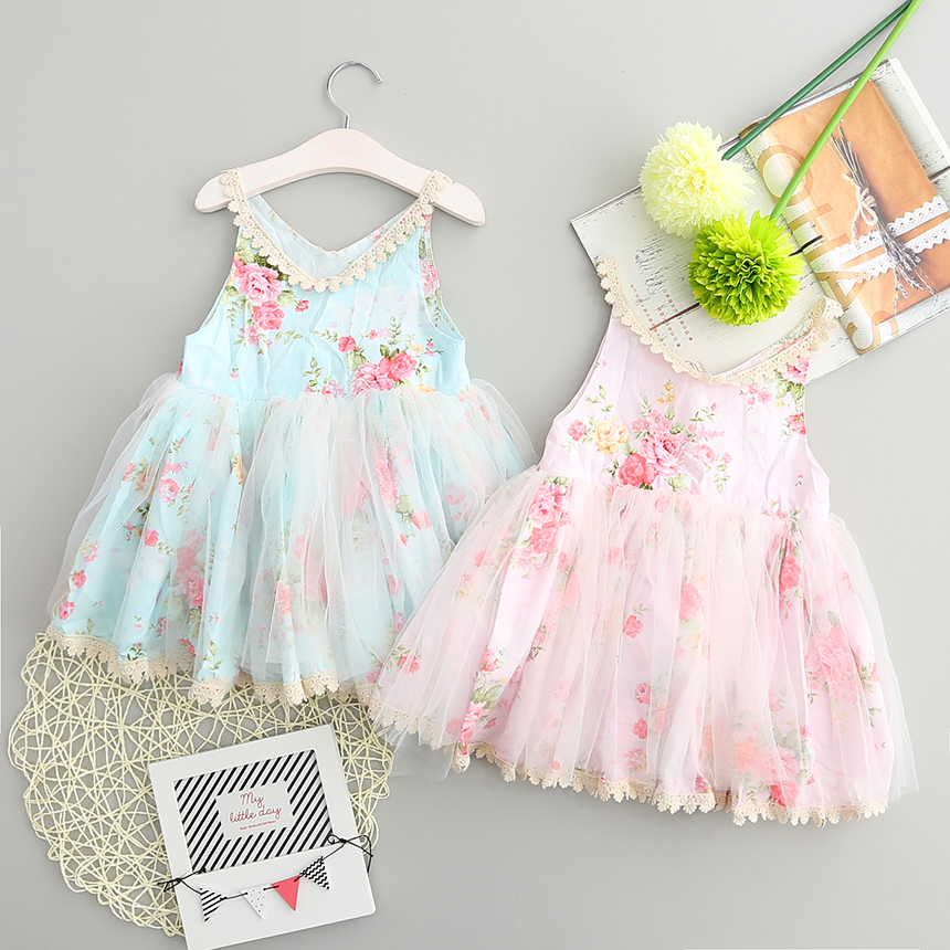 e036b36fbe9 New Arrival Baby Girls Cute Floral Tutu Sundress Ruffles Lace Embroidery  Candy Color Dress