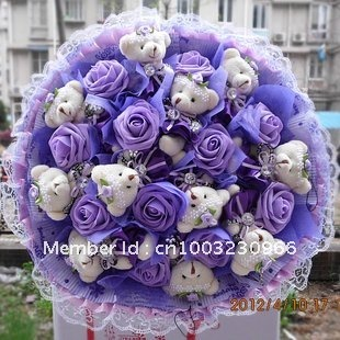 Teddy Bear Cartoon Bouquet Bag Mail Simulation Roses Holding Flowers Birthday Present Girl Valentines Day Gift Ideas