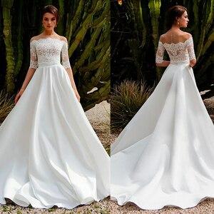 Великолепное атласное свадебное платье с открытыми плечами трапециевидной формы из двух частей с кружевной аппликацией, свадебное платье ...