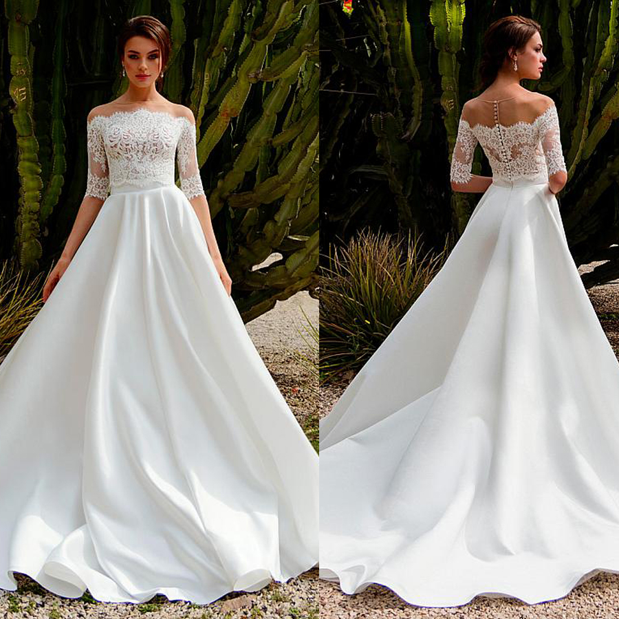 Gorgeous Satin Off The Shoulder A-line Two-piece Wedding Dress With Lace Appliques Bridal Dress With Removable Jaket
