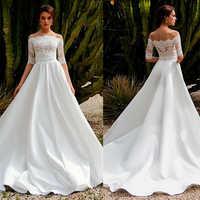 Wunderschöne Satin Weg Von der Schulter A-line Zwei-stück Hochzeit Kleid Mit Spitze Appliques Braut Kleid mit Abnehmbare Jaket