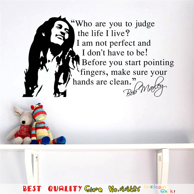 Large famous music star bob marley quote wall sticker for Inspiratinal bob marley wall decals