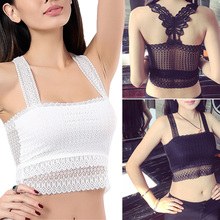 цена на 2019 Sexy Women summer Bodycon Strappless Hollow Butterfly Lace ladies camisole black white lace bralette sexy tank top Best