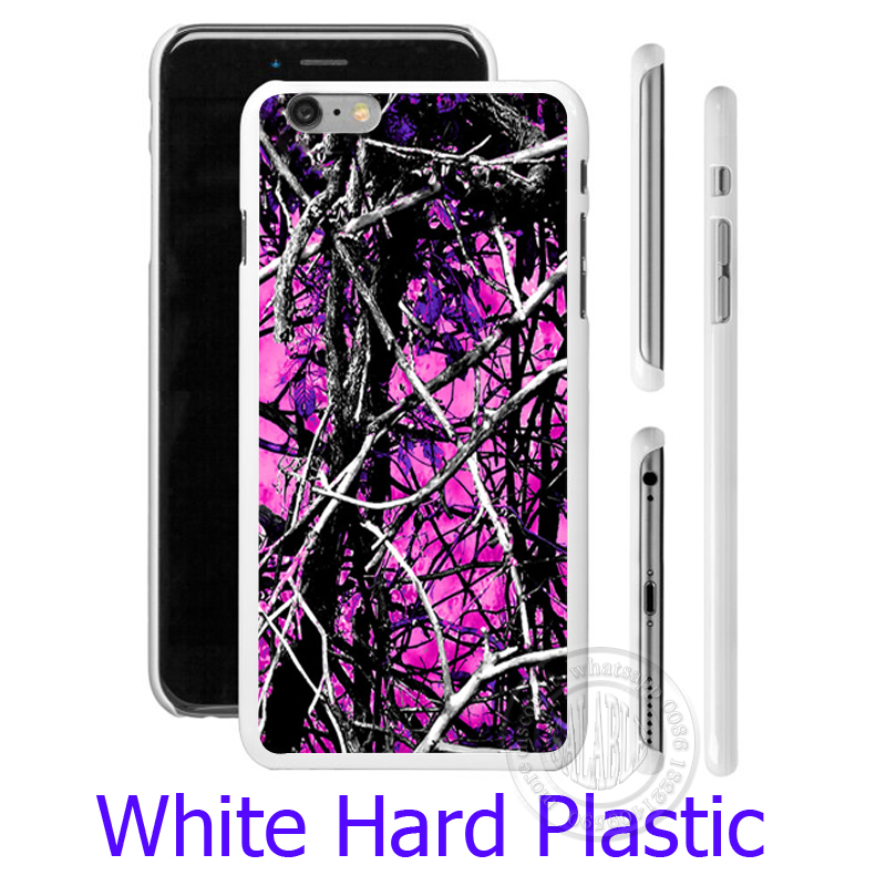 camo trees purple pink fashion Hard White Phone Case for iPhone 7 6 6S Plus 4 4S 5C 5 SE 5S Cover