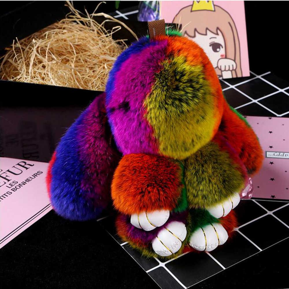 18cm Tamanho Grande Bonito 2019 Pluff Chaveiro Coelho Genuine Fur Rex Coelho Chaveiro Mulheres Saco Boneca Brinquedos Macios pom Pom Lindo Chaveiro