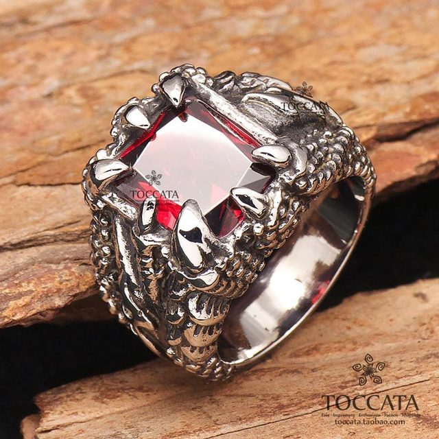 ArtificiRuby and sapphire Dragon  claw  Rings for men and women Artifical crystal vintage Stainless Steel Fashion finger jewelry