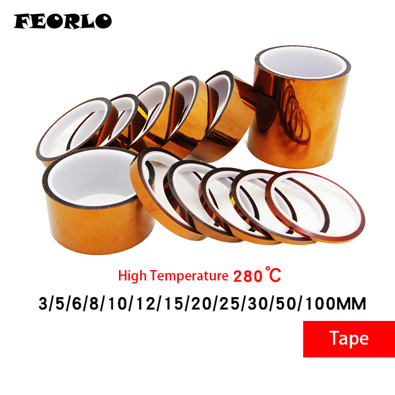 Diligent Feorlo Width 3/4/5/6/8/10/12/15/18/20/25mm Length 30m Heat Resistant Polyimide Tape High Temperature Adhesive Insulation Tape