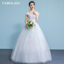 VAMOLASC Pearls Boat Neck Lace Flowers Appliques Ball Gown Wedding Dresses Off The Shoulder Backless Bridal Gowns