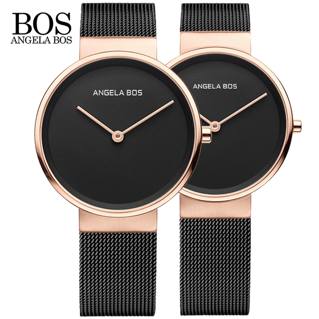 BOS Ultra Thin Simple Nordic Design Lovers Watch Sapphire Weave Stainless Steel Famous Brand Quartz Couple Men Watch Women Dress