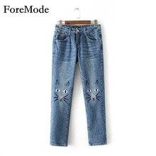 ForeMode высокой талией джинсы женские брюки осень 2016 женщин новый кот вышивка свободные прямые студенческие брюки