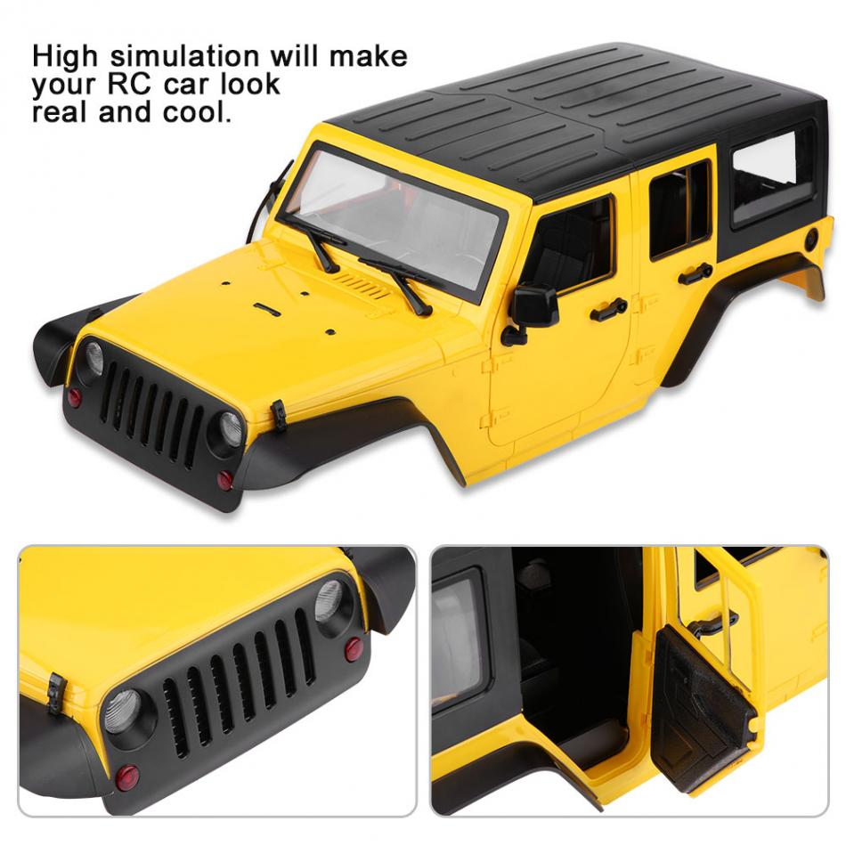 313mm Wheelbase yellow Hard Plastic Body Shell RC Car Shell For Jeep Wrangler 110 Scale RC Car Body Shell solid and durable