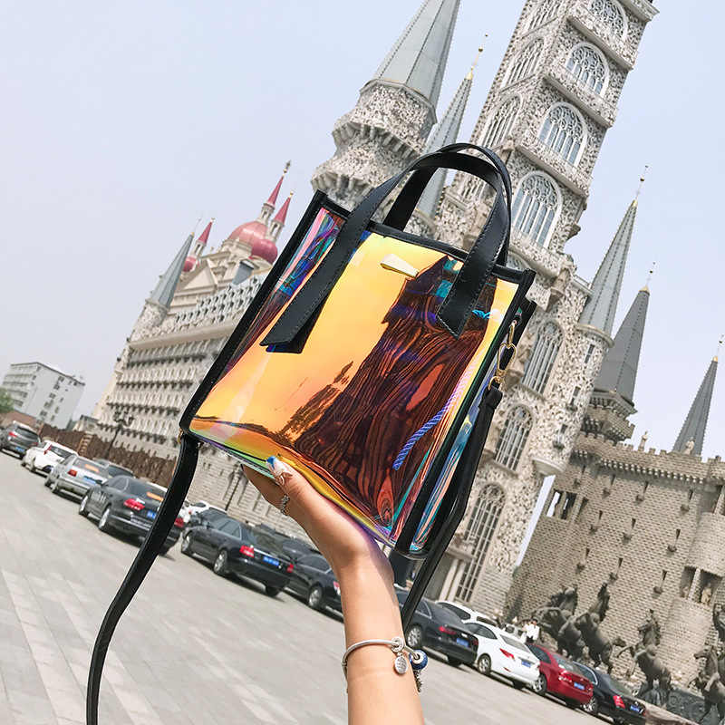 2pcs Women Transparent Jelly Bags Candy Summer Beach Crossbody Bag Clear Handbags Ladies PVC Shoulder Bags Bolsa Feminina W415